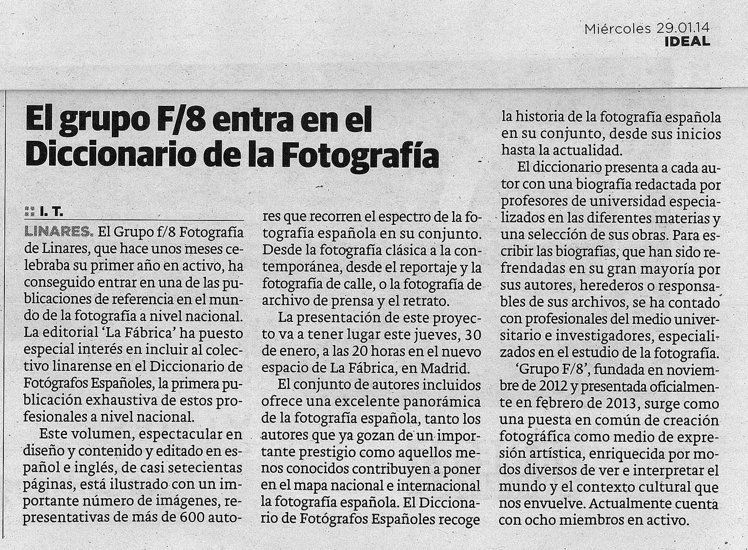"Diario Ideal - ""Diccionario Fotógrafos Españoles"""