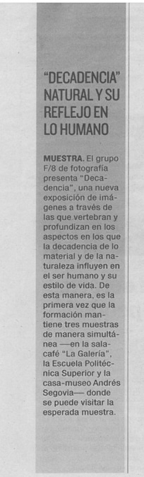 """Exposición """"Decadencia""""."""